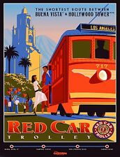 Tin Sign Disney Red Car Trolley California Attraction Ride Art Poster