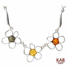 MIX BALTIC AMBER STERLING SILVER 925 BEAUTY PENDANT-NECKLACE FLOWER, KAB-5