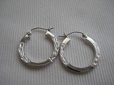 9ct white gold diamond cut medium hoop earrings NEW