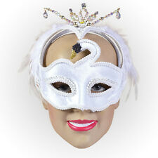 THEATRICAL WHITE #SWAN EYE MASK MASQUERADE BALL THEATRE FANCY DRESS ACCESSORY