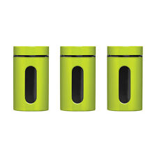 Tea Coffee Sugar Storage Jars Canisters Set Of 3 Colour Enamel On Steel Glass