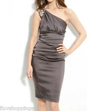 Suzi Chin for Maggy Boutique One Shoulder Satin Dress Size 4