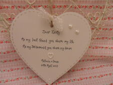 PERSONALISED WEDDING GIFT KEEPSAKE SHABBY  STYLE WOODEN HEART for bridesmaid (L)