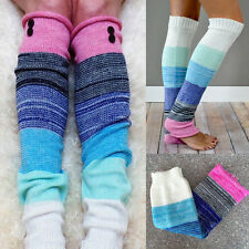 Women Girl Winter Rainbow Knit Crochet Leg Warmers Button Trim Boot Cuff Socks