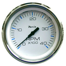 "Faria Chesapeake White SS 4"""" Tachometer - 4,000 RPM (Diesel - Mechanical Takeof"