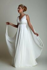 GREEK STYLE CHIFFON BEACH WEDDING DRESS. BRIDAL GOWN. SIZES: 2-20W. HANDMADE.