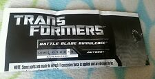 Transformers ROTF BATTLE BLADE BUMBLEBEE INSTRUCTION BOOKLET ONLY