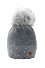 Women Ladies Winter Beanie Hat Warm Knitted with Small Crystals Large Fur Pom LA