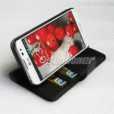 Black Stand Flip Card Wallet Leather Case Cover for LG Optimus G Pro,F240