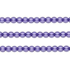 Round Glass Pearls Beads. Violet 4mm 16 Inch Strand