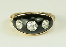 Estate Antique Ring - 3 Stone Old European Cut Diamonds with Black Onyx