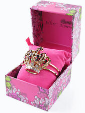BETSEY JOHNSON Royal Engagement Crown Gold-Tone Hinge Cuff Bracelet w/Gift Box