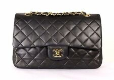 CHANEL Vintage Black Quilted Lambskin Medium Classic Double Flap Bag