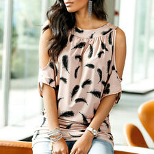 Womens Tops Gypsy Boho Crop Top Ladies Off Shoulder T shirt Loose Floral Blouse