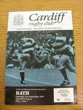 21/09/1991 Rugby Union: Cardiff v Bath  Official Programme(creased)