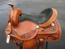 15 WESTERN BARREL RACING RACER PLEASURE SILVER SHOW TOOLED LEATHER HORSE SADDLE