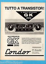 QUATTROR962-PUBBLICITA'/ADVERTISING-1962- CONDOR AUTORADIO - GK 2610