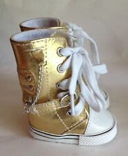 """Metallic Sneaker Boots Black Gold Red Silver for 18"""" American Girl Doll"""