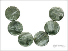 6 Large Seraphinite Flat Round Coin Pendant Beads 20mm #86110