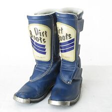 Vintage FOX Boots Blue Leather Motocross Racing Marked Size 8 Dirt Boots