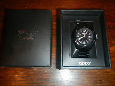 Zippo Black Face PVD Stainless Band Dress Watch 45014 *NEW*