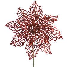 18cm rojo Glitter Poinsettia Flor de fiesta de Navidad para decoración de pasteles de merienda Pick