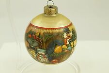 Vintage Gold Christmas Scene Ball Ornament Holiday Tree Decoration