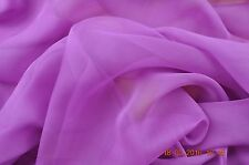 Pure silk chiffon, 114 cm wide, amethyst, sold by the meter