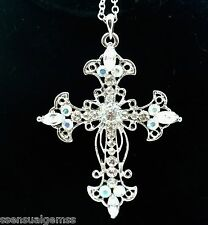 Cross Pendant Women's W Austrian Clear Crystal Necklace Gold Plated New