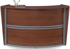 Contemporary Reception Desk in Cherry Finish with Silver Frame