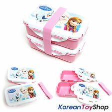 Disney Frozen Lunch Box Bento 2 Tiers Plastic Food Container Storage w/ Band