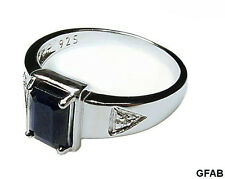 Men's Dark Blue Natural Sapphire + Genuine Diamond .925 Sterling Silver Ring