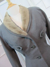 JP Allen Nobility Jr Exclusive Gray Jacket Mink Fur Collar Tailored Waist  HC