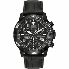 Mens Citizen Eco-Drive Black Leather Titanium Case Perpetual Watch BL5259-08E