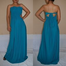 NWT Sexy Women Teal Strapless Summer Maxi Dress Casual Cocktail Party Sz L
