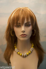 Strawberry Blonde with light Pale Blonde Highlight Red Long Medium Skin Top Wigs