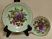 Paragon Bone China Pale Blue Tea Cup and Saucer Grape Plum and Fruit
