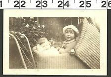 VINTAGE OLD B&W PHOTO OF 2 SISTERS IN A BABY STROLLER #2701