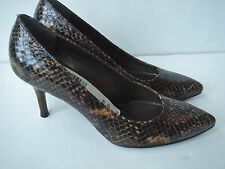 NEW STUART WEITZMAN 5.5 Brown Snake Leather Pumps Heels shoes $350