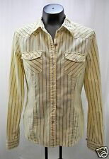 American Eagle Yellow Black Stripes Western Snap-Front Long Sleeve Shirt - M