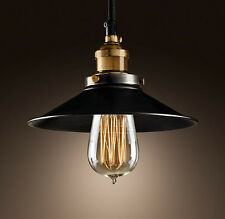 MODERN VINTAGE INDUSTRIAL METAL CEILING LIGHT BLACK SHADE PENDANT INCLUDE BULB
