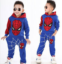 Spiderman Outfits Kids Baby Boys Hoodie Tops+Pants Child Casual Clothes 2-3Years