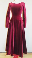 NWOT LAURA ASHLEY Luxurious CLARET Velvet VICTORIAN Riding DRESS Gown