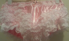 Stunning Double Pink Satin Ultra Frilly Rumba Panties Sissy CD TV
