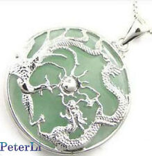silver set jewlery green jade dragon phoenix amulet pendant necklace