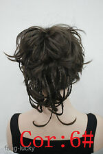 Excellent Dark Brown wire braid claw clip ponytail hair pieces wig FPTLF004