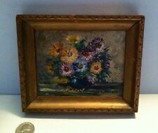 Minature Oil Painting Vibrant Colored Floral  Carved Frame 6x5 Signed
