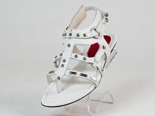 New  Cesare Paciotti White Leather Studded Sandals Size 36 US 6