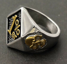 Men's Stainless Steel Biker Ring Motor Retro One Percent 1% ER Ring Punk SZ 7-15