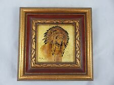 Vintage Native American Indian Chief Painting Drawing on Gold Foil - Framed Art